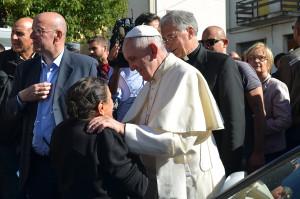 Papa Francesco a S. Pellegrino di Norcia il 4 ottobre 2016