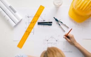 Construction engineer drawing project