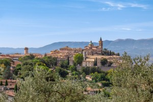 Countryside landscape with the ancient hill town Trevi and olive