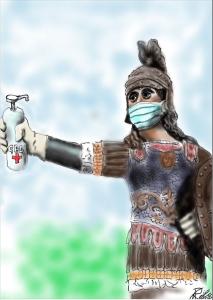 La simpatica vignetta dell'architetto Carlo Rampioni: il dio Marte con la mascherina e l'iginizzante sul braccio dove sono appesi gli anelli